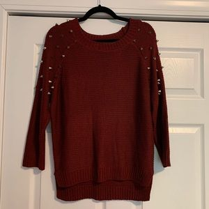 Maroon Sweater with Metal Studs